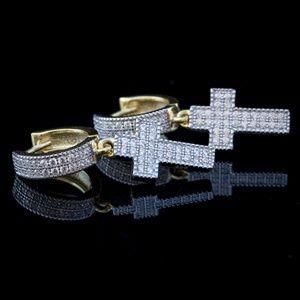 Men's 14K Gold Cross Dangle Drop Hoop Earrings